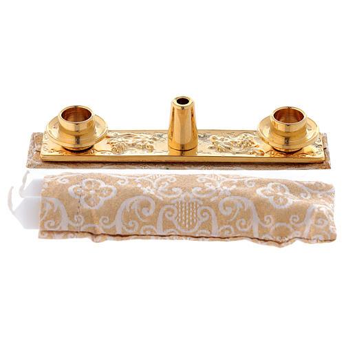 Borsello per Battesimo vera pelle jacquard oro 5