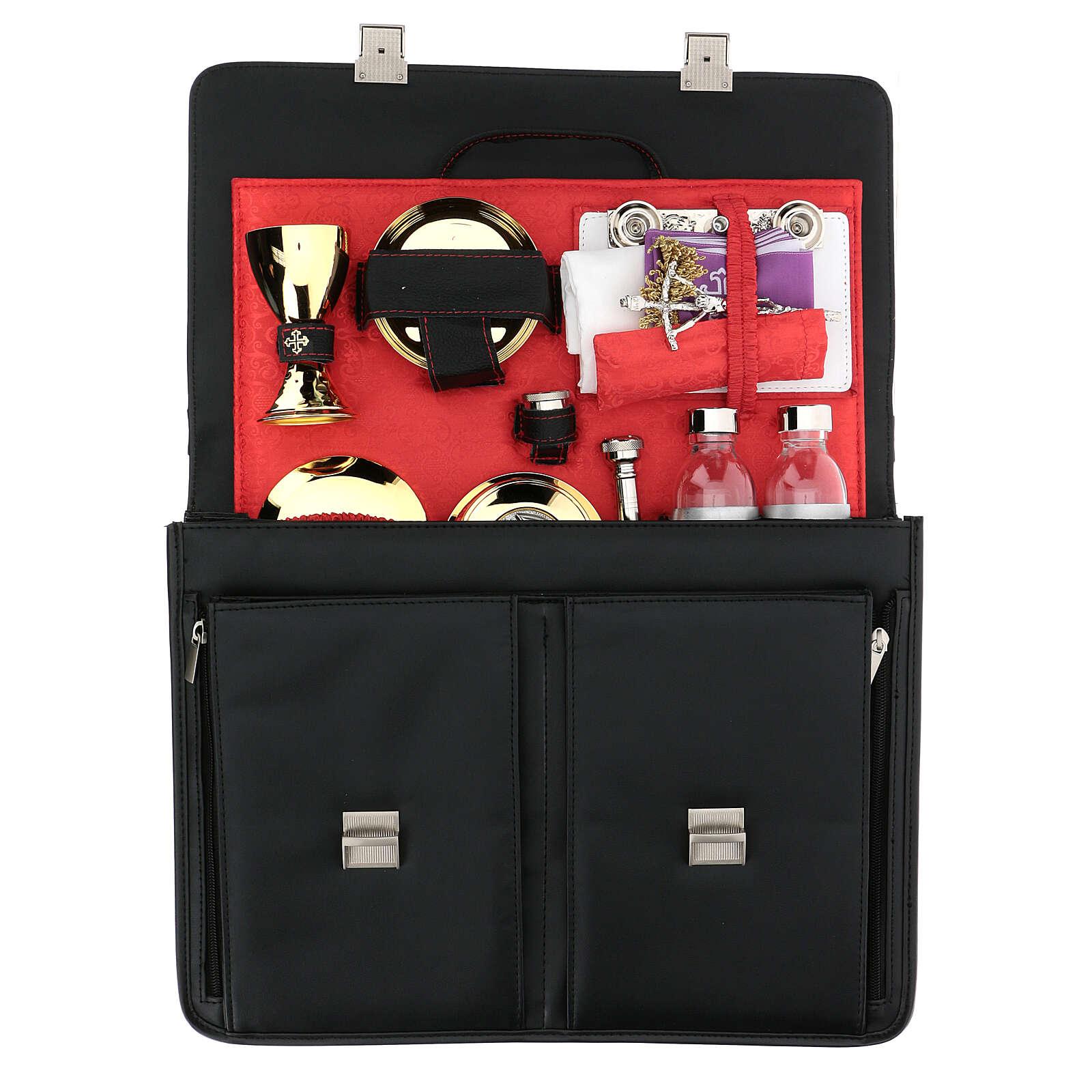 Bolso para celebración modelo 24 horas cuero ecológico negro interior rojo 3