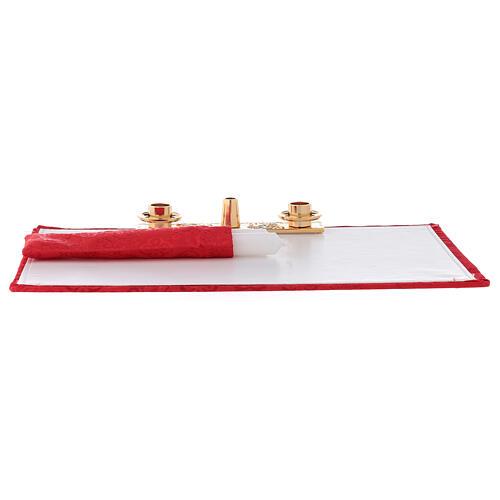 Maleta para celebraciones ABS jacquard rojo con set 4