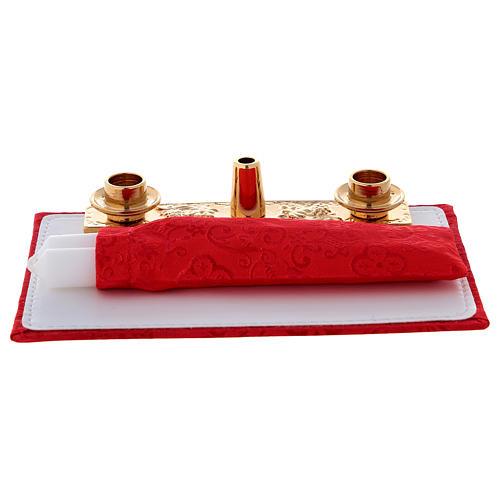 Borsello celebrazione vera pelle jacquard rosso  3
