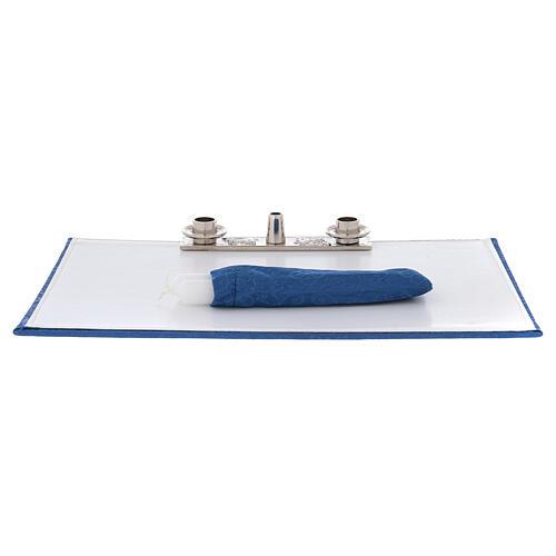 Bolso para ordenador bandolera cuero ecológico interiores moiré azul 8