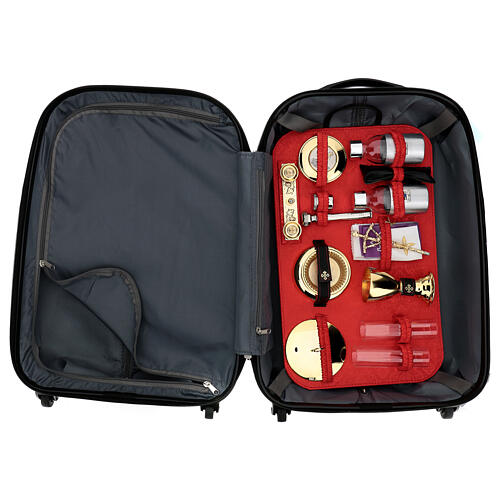 Trolley case for mass celebration with red Jacquard lining 1