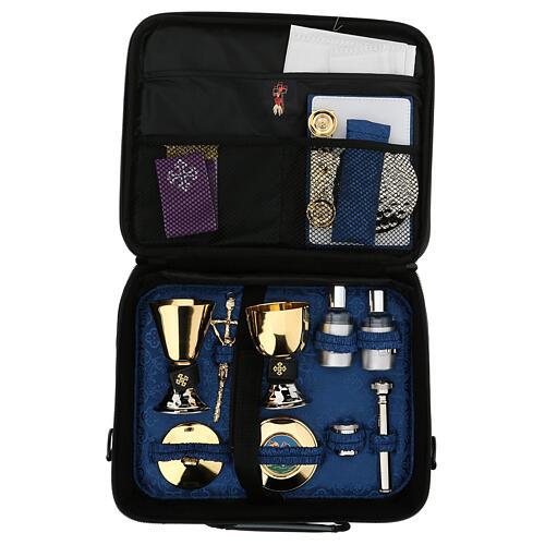 Mini bolso para ordenador para celebración con jacquard azul 2