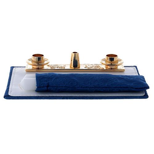 Mini bolso para ordenador para celebración con jacquard azul 7