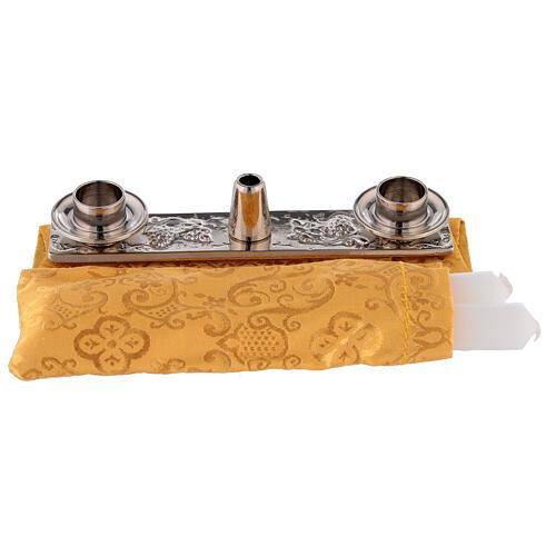 Mochila acolchada para celebración con interior de jacquard amarillo 9