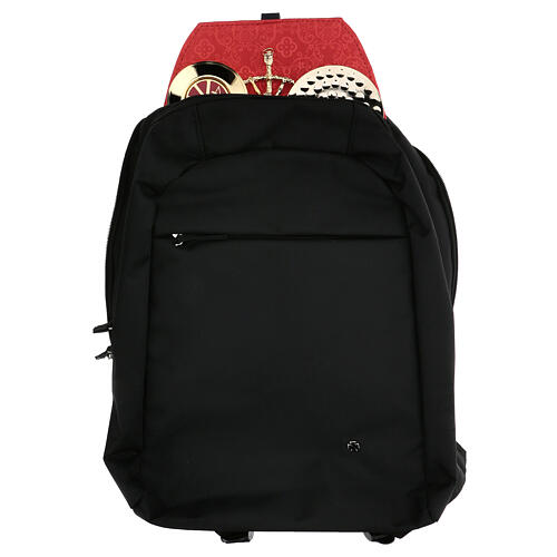 Travel mass kit backpack with red Jacquard lining 1