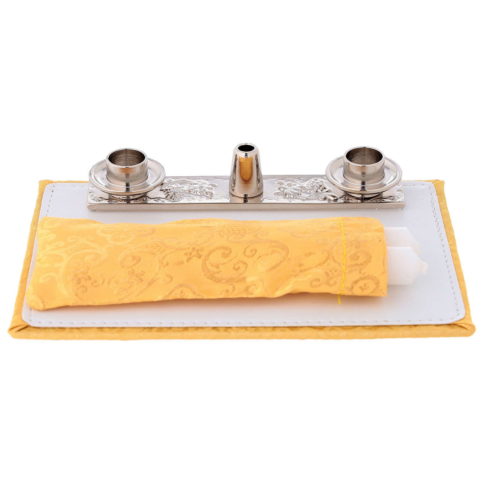 Bolso cartera para celebraciones con jacquard amarillo 3