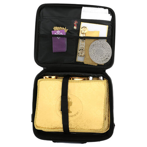 Small computer bag with Mass kit, yellow jacquard fabric 10