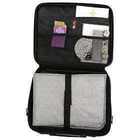 Mini borsa porta computer per celebrazione con tessuto grigio s10