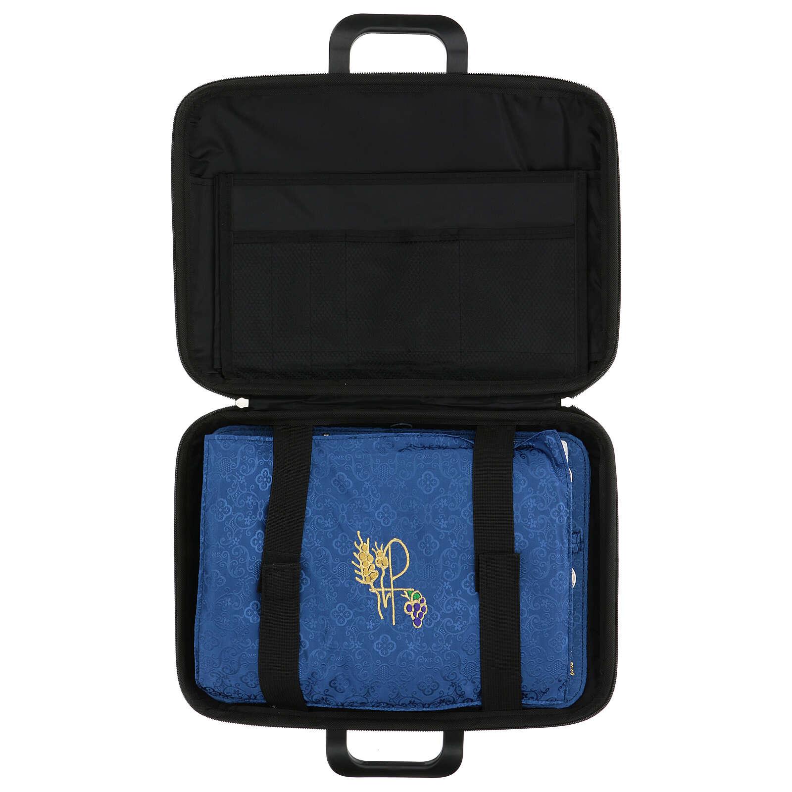 Bolso cartera para celebraciones con moiré azul 3