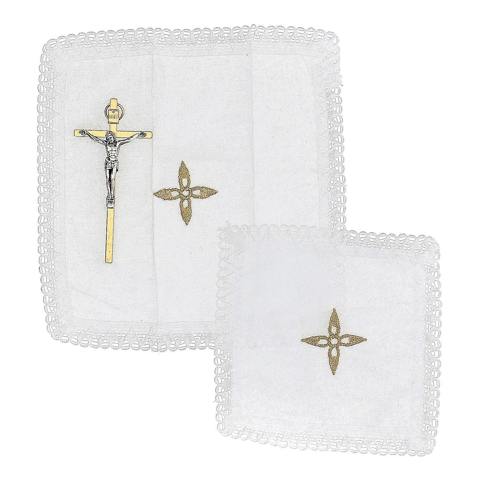 Bolsa tiracolo para celebração litúrgica interior tecido jacquard vermelho 3
