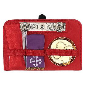 Bolsa tiracolo para celebração litúrgica interior tecido jacquard vermelho s3