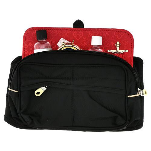 Bolsa tiracolo para celebração litúrgica interior tecido jacquard vermelho 1