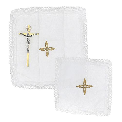 Bolsa tiracolo para celebração litúrgica interior tecido jacquard vermelho 9