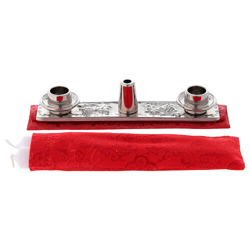 Bolsa tiracolo para celebração litúrgica interior tecido jacquard vermelho 10