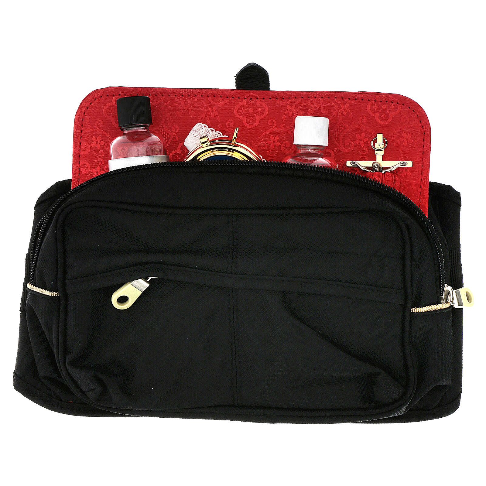 Bum bag with mass kit and red Jacquard lining 3