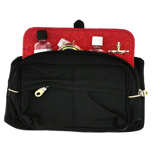 Bum bag with mass kit and red Jacquard lining 1