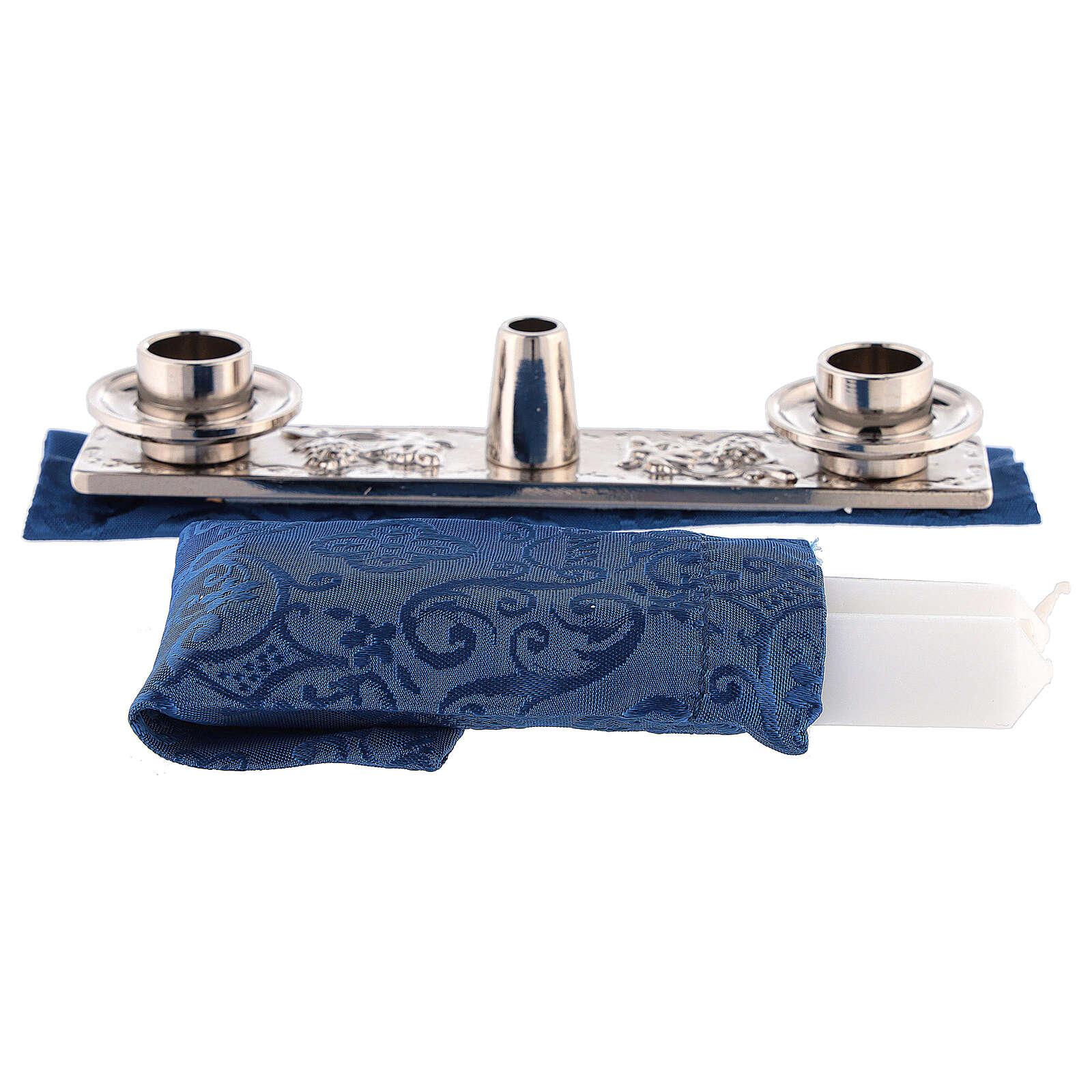 Riñonera de cuero para celebración con jacquard azul 3