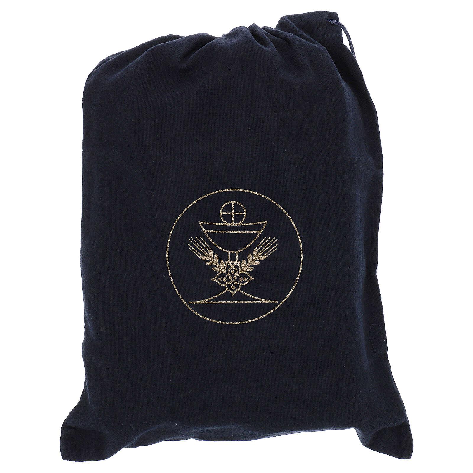 Sacoche noir en cuir avec nécessaire pour célébration et intérieur jacquard bleu 3