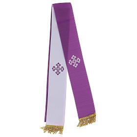 Bolsa tiracolo couro preto e tecido jacquard azul com objetos para celebração litúrgica s4