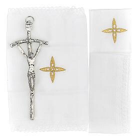 Bolsa tiracolo couro preto e tecido jacquard azul com objetos para celebração litúrgica s5