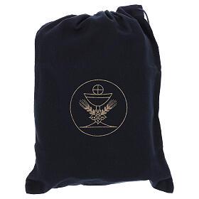 Bolsa tiracolo couro preto e tecido jacquard azul com objetos para celebração litúrgica s9