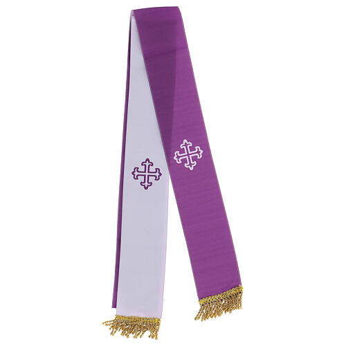 Bolsa tiracolo couro preto e tecido jacquard azul com objetos para celebração litúrgica 4