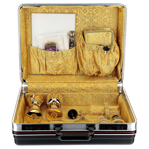 ABS mass celebration briefcase with yellow jacquard lining 1