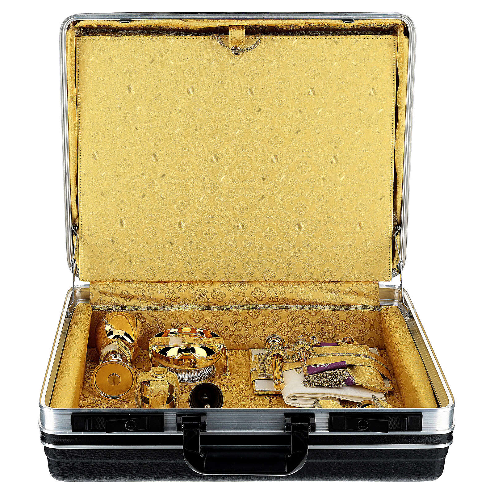 ABS briefcase with yellow damask lining 3