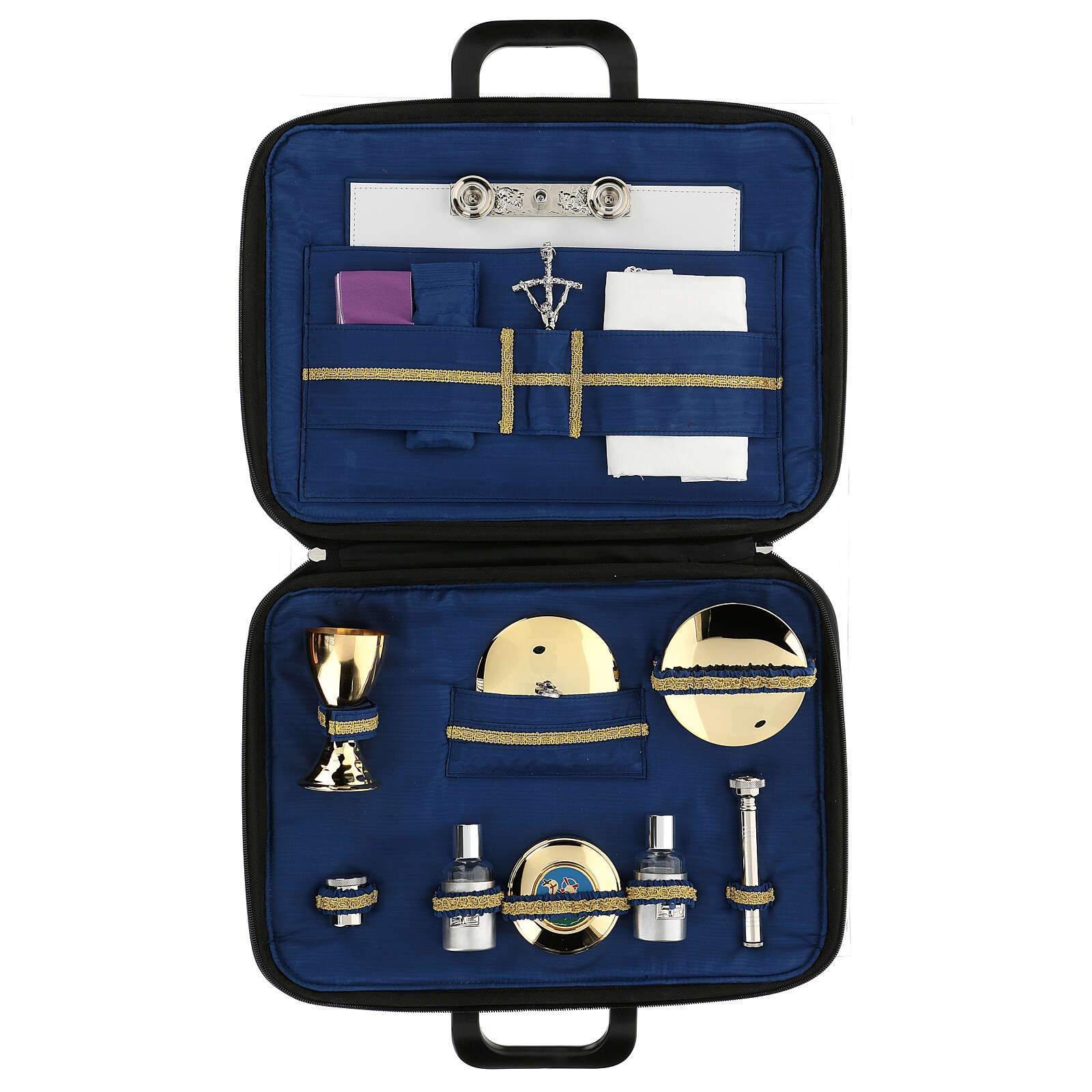 Briefcase with mass celebration kit in blue silk 3