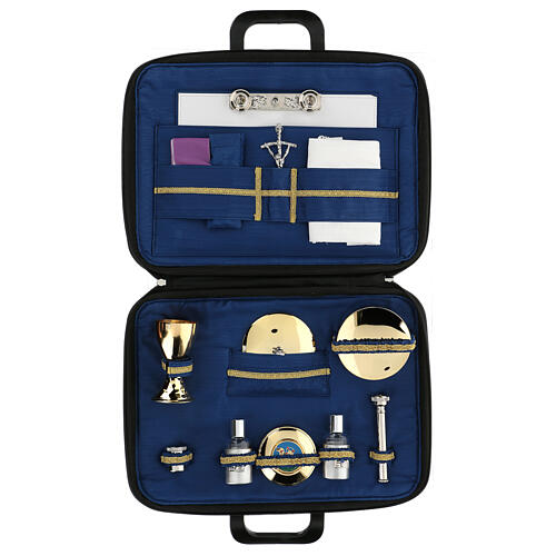 Briefcase with mass celebration kit in blue silk 1