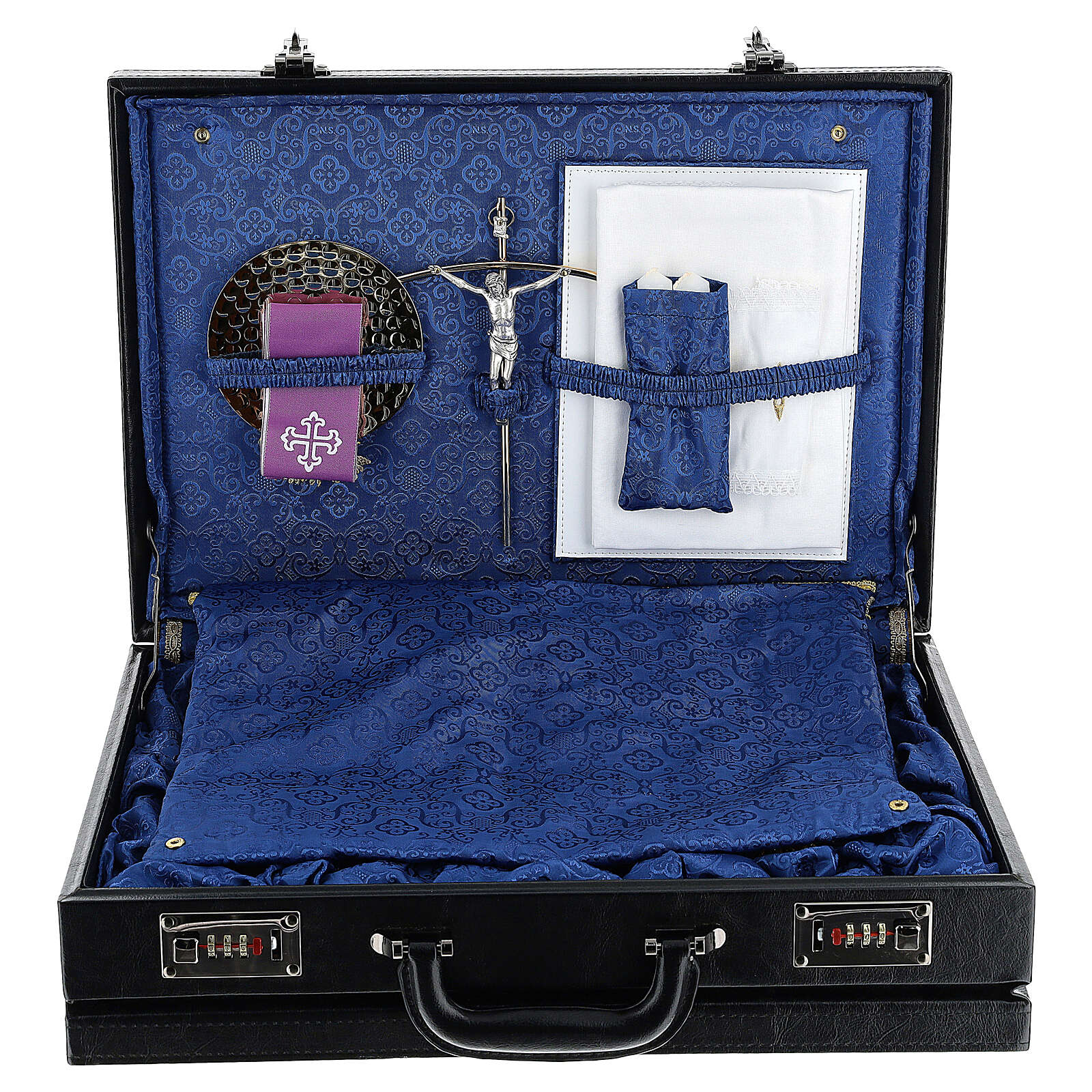 Briefcase in blue silk with embroidery 3