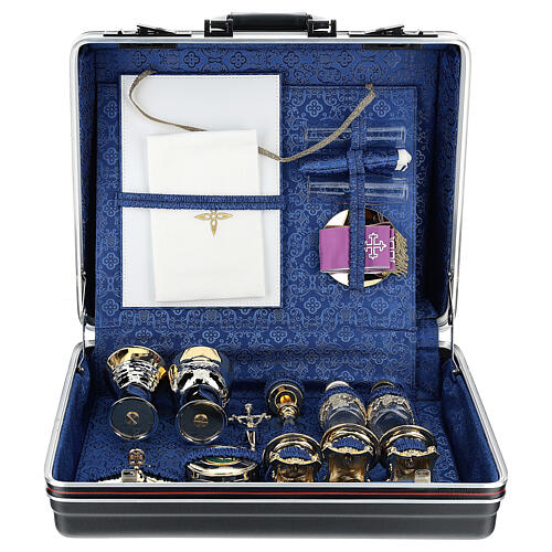 Mass kit briefcase in ABS and blue silk 1