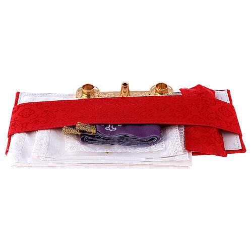 Maleta con combinación de cuero sintético para celebración y raso rojo 9