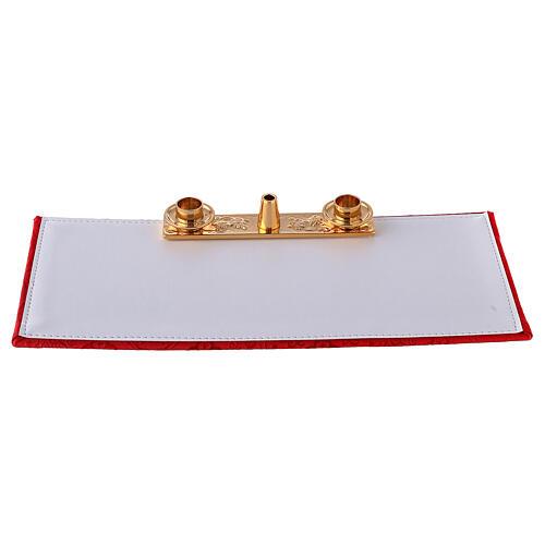 Valigia con combinazione in ecopelle per celebrazione e raso rosso 10