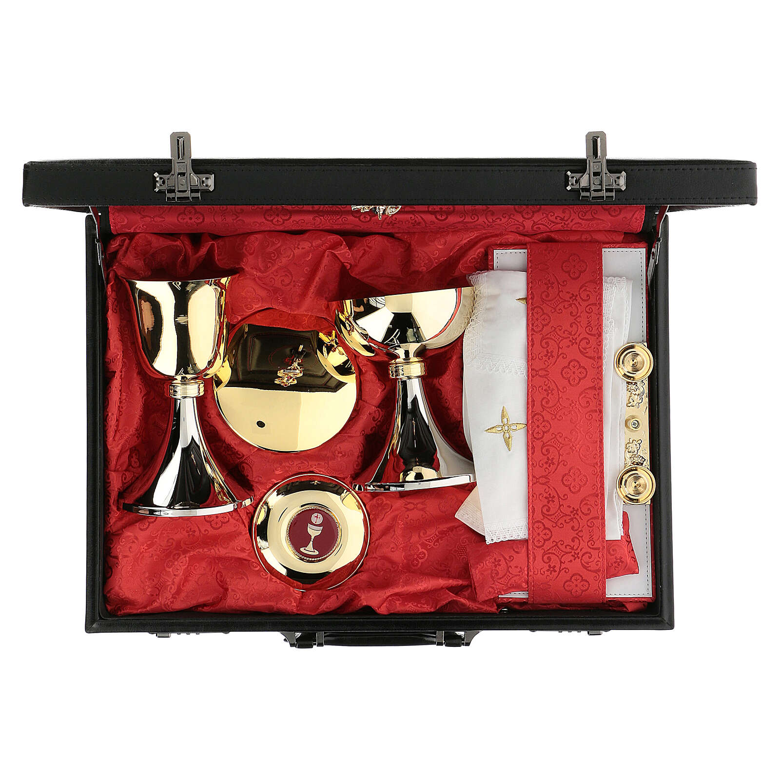 Artificial leather briefcase with combination lock and red satin 3