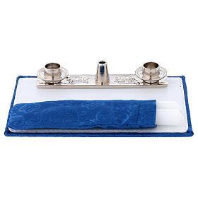 Valise chapelle en moiré bleu kit célébration s6