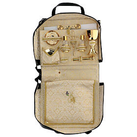 Bag for travel mass kit in leather and silk s1
