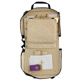 Bag for travel mass kit in leather and silk s2