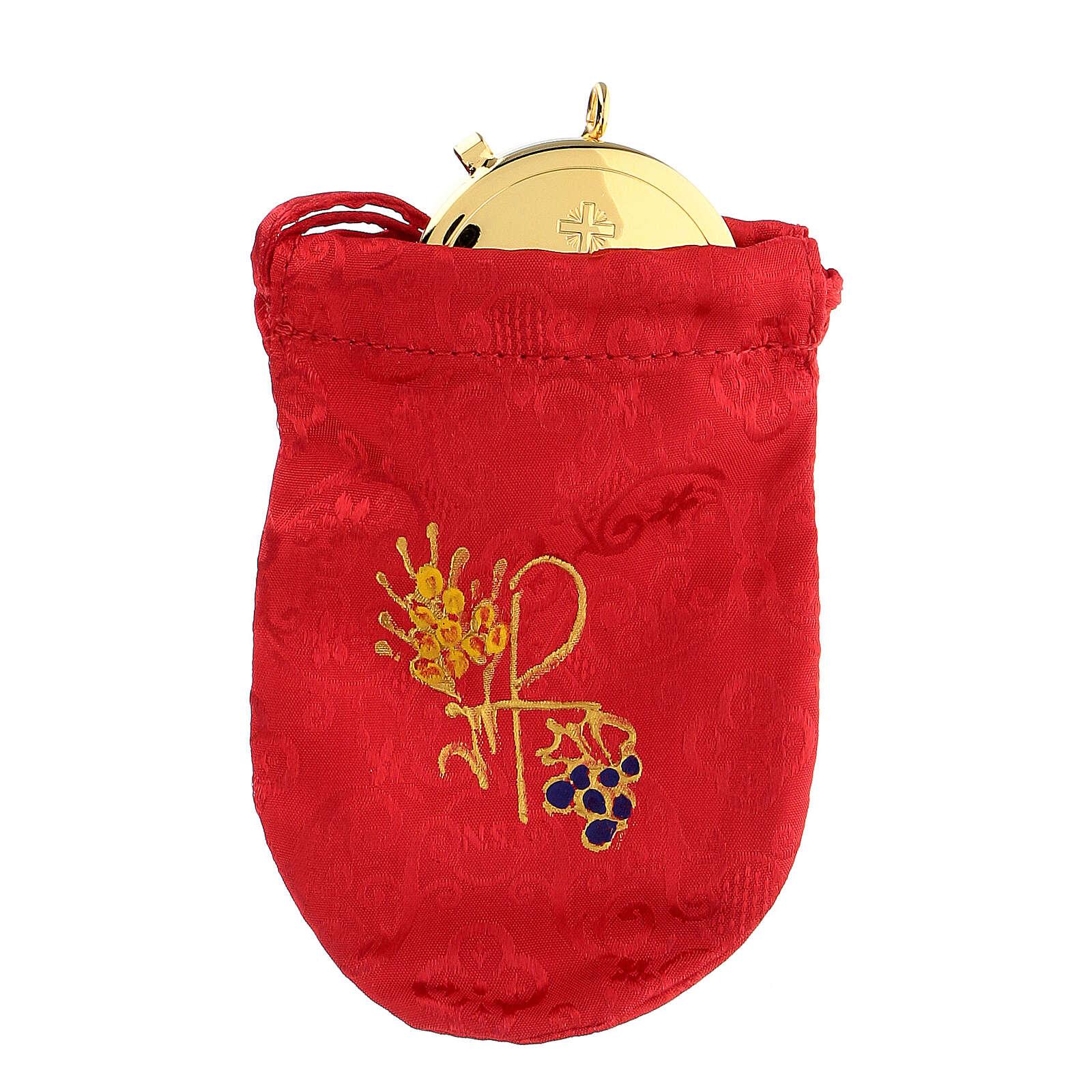 Viaticum burse in red Jacquard fabric 3 in pyx 3