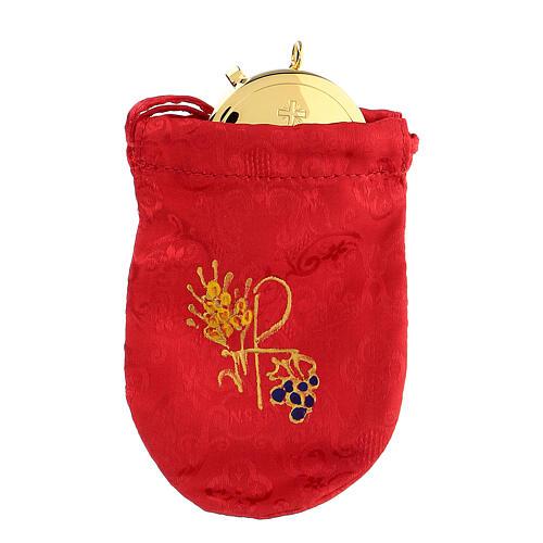 Viaticum burse in red Jacquard fabric 3 in pyx 1