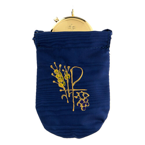 Viaticum burse in blue Jacquard fabric 3 in pyx 1