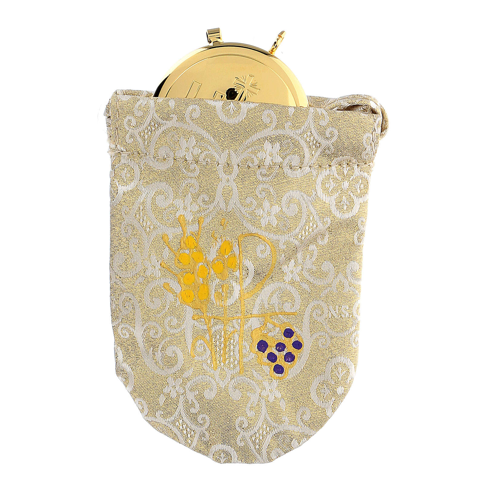 Sacchetto porta viatico in jacquard damascato teca 8 cm 3