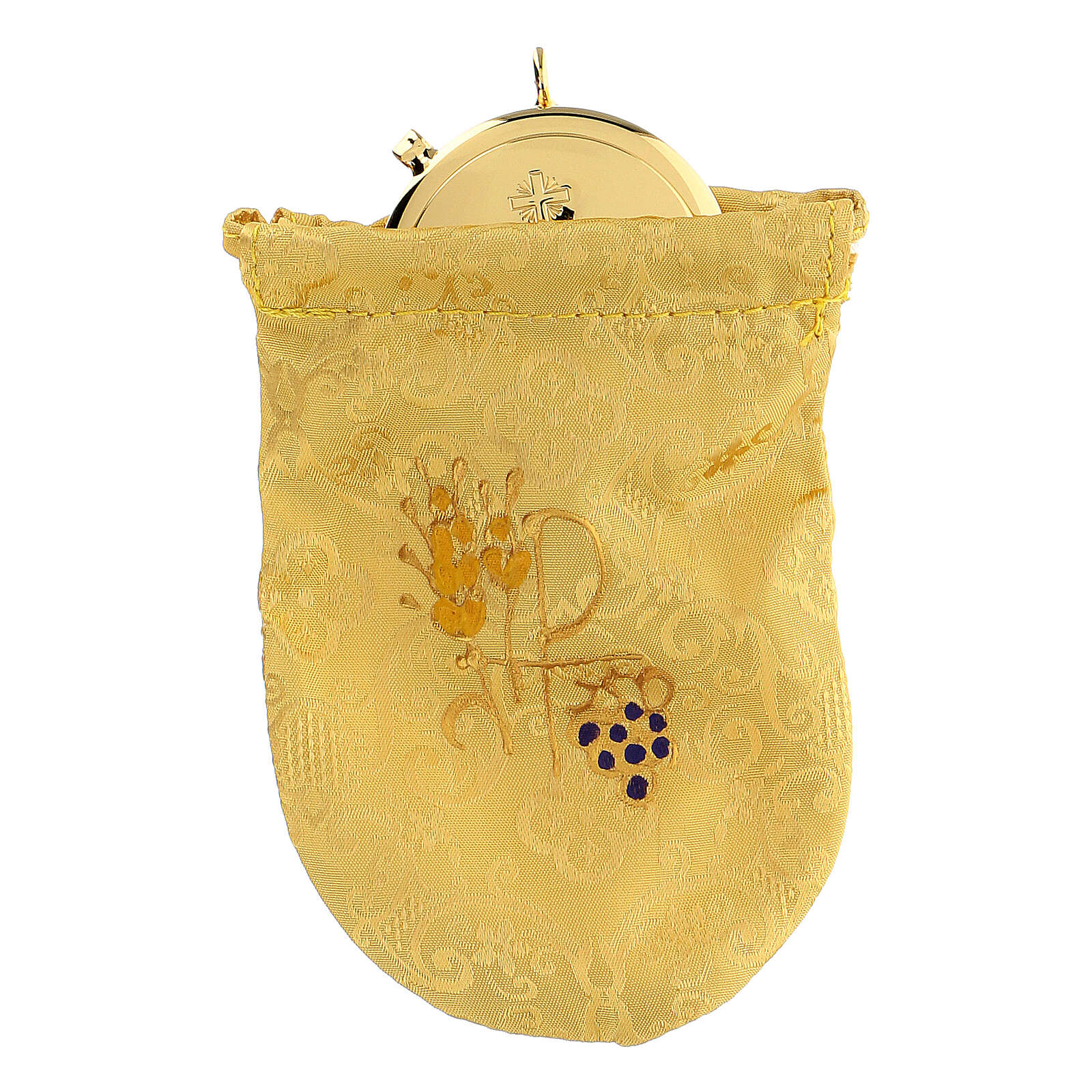 Viaticum burse in yellow Jacquard fabric 3 in pyx 3