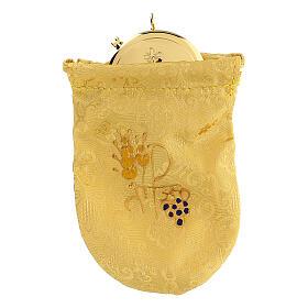 Viaticum burse in yellow Jacquard fabric 3 in pyx s1