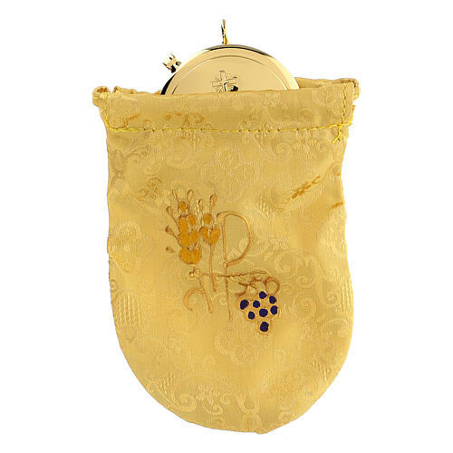 Viaticum burse in yellow Jacquard fabric 3 in pyx 1