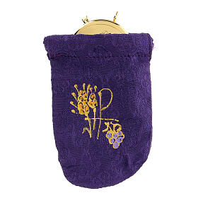 Viaticum burse in purple Jacquard fabric 3 in pyx s1