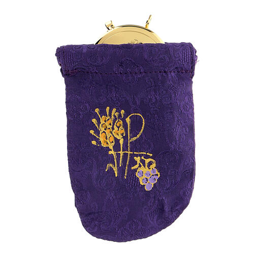 Viaticum burse in purple Jacquard fabric 3 in pyx 1