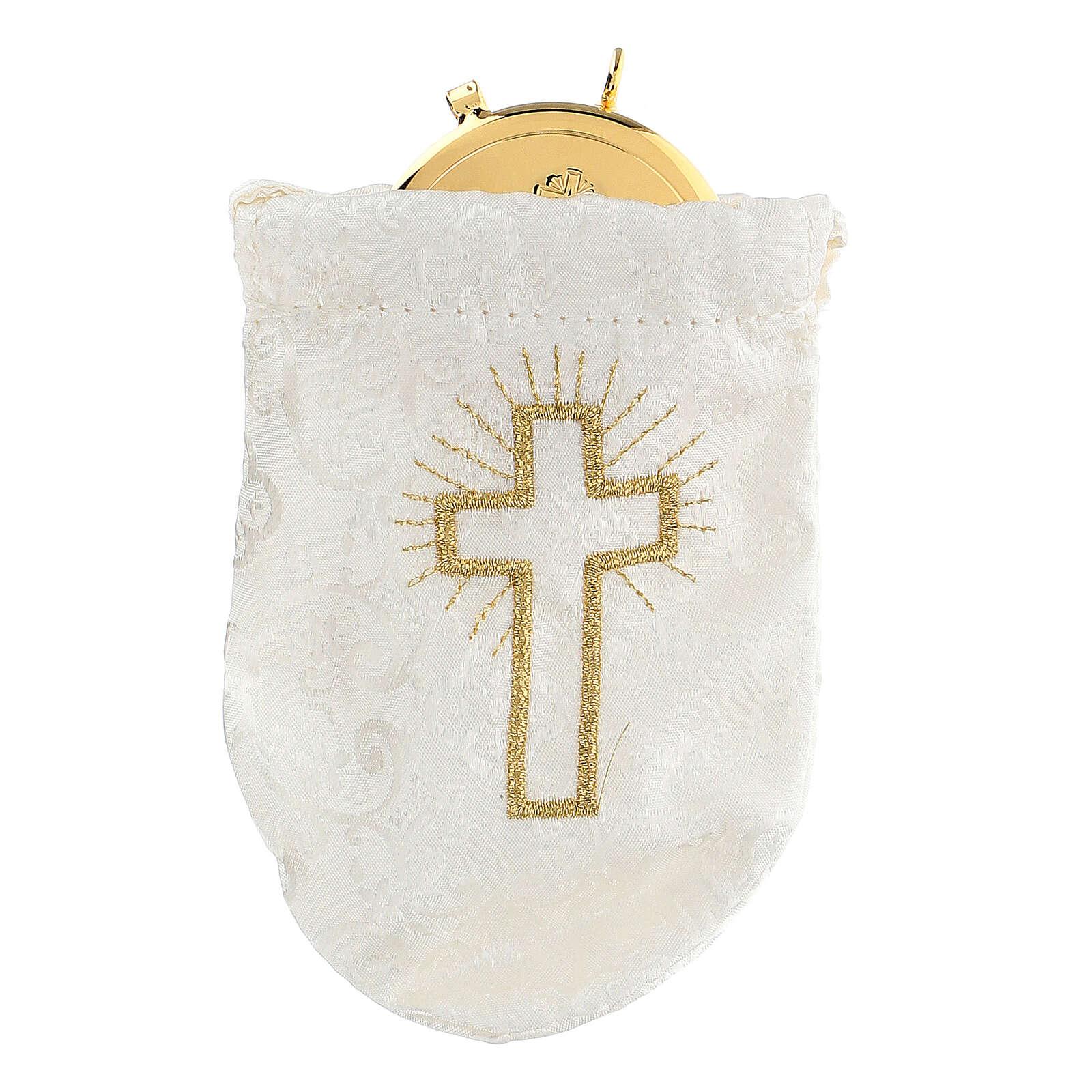 Sacchetto porta teca in jacquard bianco teca 8 cm 3