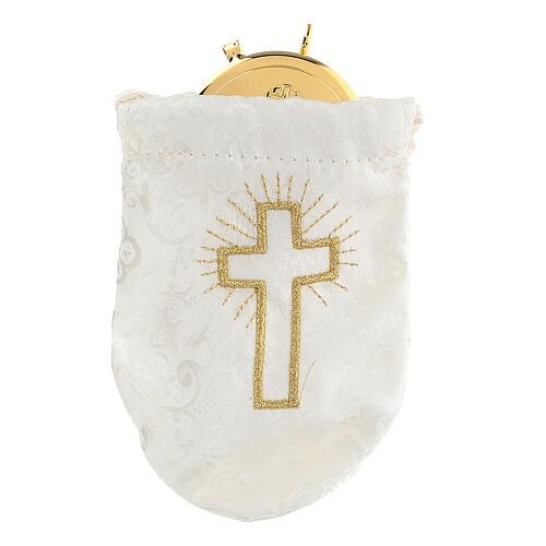 Sacchetto porta teca in jacquard bianco teca 8 cm 1